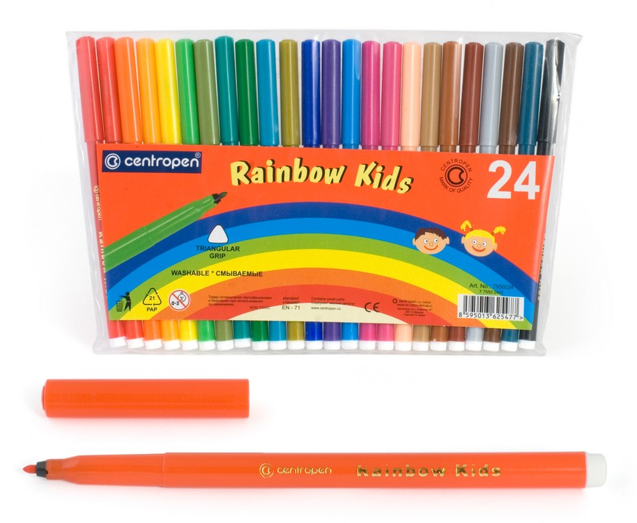 Фломастеры Centropen Rainbow Kids, арт. 7550/24
